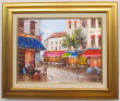 「パリの街角」進藤始【送料無料/通信販売】(F6サイズ油彩画[油絵]・外国風景画・フランス(パリ)[絵画通販])