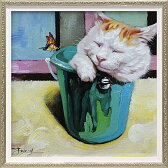 「キャットインバケット」Sサイズ オイルペイントモダンアート[絵画通販]ネコ・ねこ・猫・動物・油絵・ハンドメイド【絵のある暮らし】【壁掛けフック付き】
