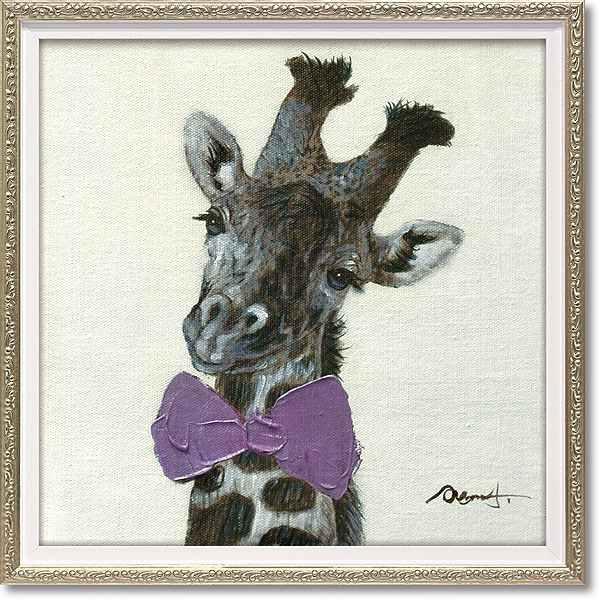 「ピンクボウジラフ」Sサイズオイルペイントモダンアート[絵画通販]キリン・きりん・動物・油絵・絵・ハンドメイド・動物 絵のある暮