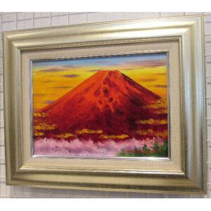 Rojo Fuji Kobayashi Kozo F4 tamaño pintura al óleo [pintura al óleo] Pintura al óleo pintada a mano, buena suerte Feng Shui, Rojo Fuji Engi, Engi, Feng Shui [Tienda de pintura] (Monte Fuji) [Vida con fotos] [Con tapices]