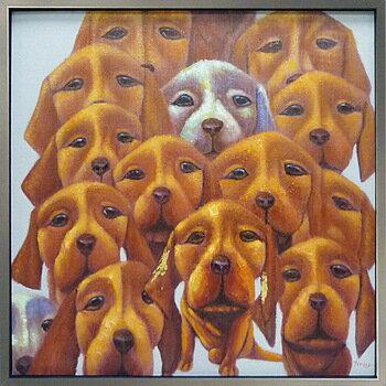 【代引き不可・お届けお時間指定不可】「ドッグフェイス」イヌ・いぬ・犬・動物・油絵・ハンドメイド・Lサイズ・オイルペイントモダンアート[絵画通販]【絵のある暮らし】【壁掛けフック付き】