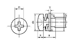 (+)ナベP=4表面処理(黒ニッケル)材質(黄銅)規格(2X8)入数(5000)