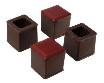 家具の移動が楽々!スライドクッション 17〜20ミリ 茶 角キャップSS 入数1袋(4個)(カグスベール同等品)【ハイロジック】