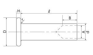 平中空リベット■表面処理(ステン)■材質(ステンレス)■規格(2X4)■入数10000