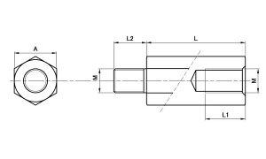 NiBS六角スペーサーBSBE■表面処理(ニッケル)■材質(鉄)■規格(2624E)■入数500