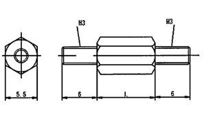 六角スペーサー(ECO−BS)■表面処理(ニッケル)■材質(黄銅)■規格(3X5)■入数800
