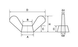 鍛造蝶ナット(1種)■材質(鉄)■規格(M10(D=50)■入数100