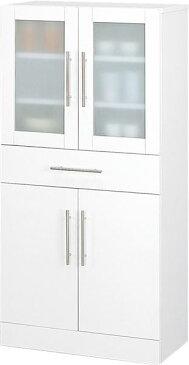 食器棚60-120・主張し過ぎず食器を目立たさないミストガラスとお手入れ簡単前面ポリ板仕様でインテリアとしても美しい