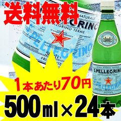 炭酸水【送料無料】サンペレグリノ 天然炭酸水ペットボトル 500mL× 24本入【D】(スパークリ...
