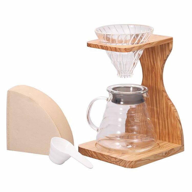コーヒーメーカー 耐熱ガラス セット V60 オリーブスタンドセット VSS-1206-OV送料無料 オリーブ coffee ハリオ お洒落 ナチュラル 木製 HARIO【D】