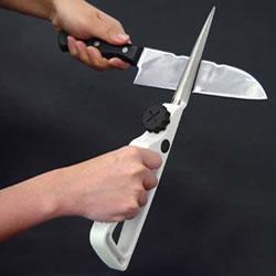 [キッチン用品]ダイヤ刃物研ぎ ハンドマイティー ダイヤモンド使用でよく研げるRとストレートの両面使い[包丁研ぎ器] 暮らしの幸便