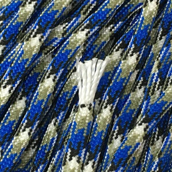 ★パラコード/15mX1本★(47)ブルー/グレー カモフラ★Pracord 550 TYPE3/7Strand 4mm★Japan Produce★