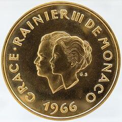 【送料無料・代引手数料無料】モナコ公国 レーニエ3世&グレース・ケリー 結婚10周年 200フラン金貨 1966年
