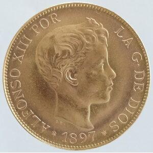 Spain King Alfonso XIII of Spain 100 peseta gold coin 1897 (1962) Restrik unused