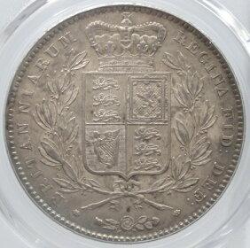 イギリスヴィクトリア女王ヤングヘッドクラウン銀貨1845年PCGS鑑定【AU58】