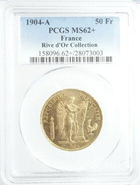 フランスエンゼル50フラン金貨1904年-APCGS鑑定【MS62+】