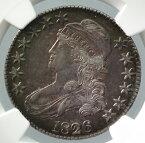 アメリカCAPPED BUST 50セント銀貨1826年NGC AU55