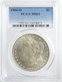 アメリカ モルガン1ドル銀貨 1904年-O  PCGS鑑定【MS63】未使用