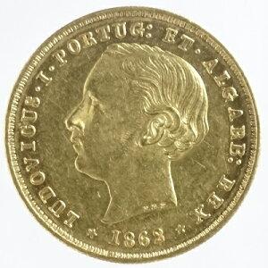 Португалия LUDOVICUS I 5000 настоящая золотая монета 1862 (A) неиспользованная