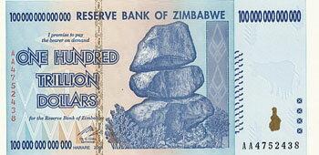ジンバブエ2008100,000,000,000,000ドル(100兆ドル)ハイパーインフレ紙幣未使用