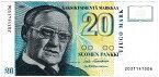 フィンランド 小説家ヴァイノ・リンナ 20マルッカ紙幣 1993年 美品
