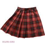 KURI-ORI★クリオリ【日本製】W63丈42サマースカートSKR228赤×黒白ライン制服プリーツスカート