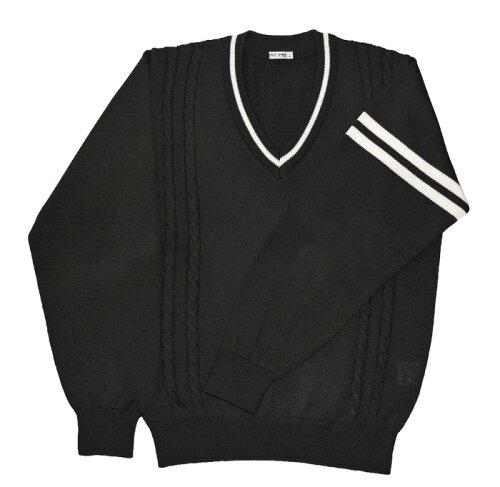 KURI-ORI★クリオリ KAL901Bウール混トラッドセーター黒×オフ白ライン