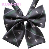 KURI-ORI[クリオリ]オリジナルリボンタイ KRR126紺×グリーン ユリクレスト【日本製】制服リボン