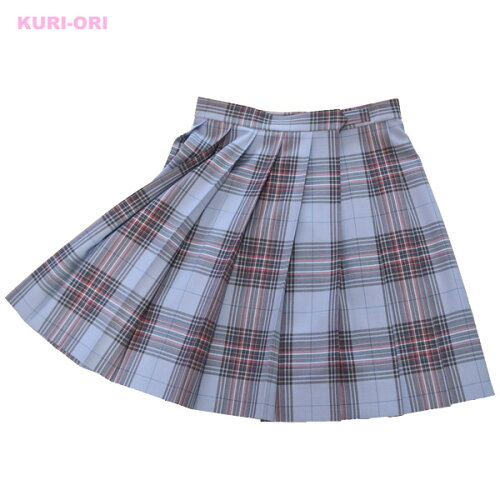 KURI-ORI★クリオリW60丈48 スリーシーズンスカートKR342 水色×ピンク制服プリーツスカ...