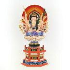 仏像 准胝観音菩薩 座像 3.5寸 円光背 六角台 桧木彩色 六観音