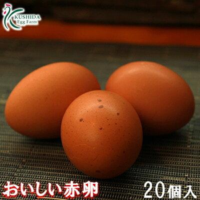 【送料無料】櫛田養鶏場のおいしい赤卵【20個入り(破卵保障2個含む)】食品/鶏卵/卵