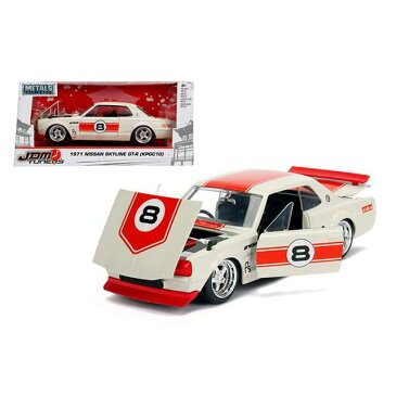 JADA TOYS ジャダトーイズ 1:24SCALE - JDM TUNERS - 1971 Nissan Skyline GT-R (KPGC10) (Off-White with RED Stripes)