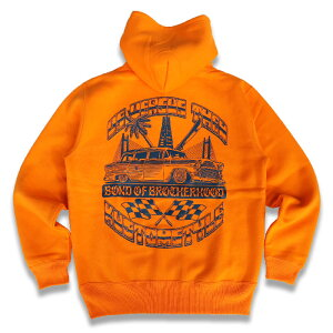 "KUSTOMSTYLExUS VERSUS THEM コラボレーション KSUVT-004HOOD ""BOND OF BROTHERHOOD"" HOODIE プルオーバー パーカー ORANGE"