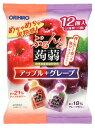 オリヒロ ぷるんと蒟蒻ゼリー パウチ アップル+グレープ (20g×12個入) くすりの福太郎