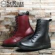 サイドジップ 8ホール ブーツ メンズ レースアップ ストラット STRUTT(ST-302 8HOLE BOOTS) メンズ(男性用) 全2色 黒 赤 シューズ 靴