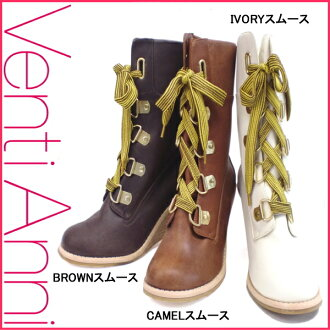 Lady's race up bootie wedge-heel shoes Venti Anni ヴェンティアンニ 08V56212 Lady's half boot ●[ fs3gm]