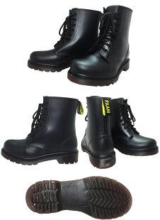 レインシューズレディース完全防水レディースレインブーツ8穴レースアップレインブーツチャッカーブーツ長靴3色63-01/靴靴パワー