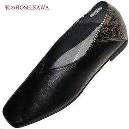 【靴のHOSHIKAWA】 『Dona Miss 1004』22cm〜24.5cm EEEドナミス カッターレディース ブラックローヒール スリッポン国産 天然皮革