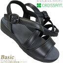 croissant クロワッサン 4591 レディース サンダル CR4591 ブラック 本革 コンフォートサンダル ダイマツ CR-4591
