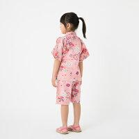 【日本製】純国産の女の子用リップル生地甚平。街着やお祭り、プレゼントに大人気!花火大会なつまつり【ゆうパケットで送料無料】日本製