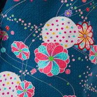 【90〜130サイズ】子ども用甚平花柄リップル生地<日本製久留米産>女の子用夕涼みルームウエアホームウエア