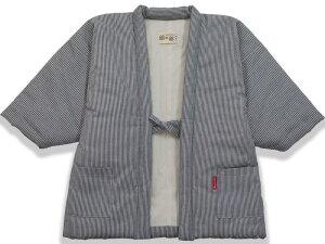【120・130・140サイズ】子供用 中綿ヒッコリー柄はんてん 綾織<日本製久留米産>こども どてら ちゃんちゃんこ 男の子 女の子