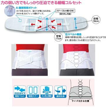 腰痛ベルト/細型二重固定コルセット/幅が細めの小柄な方、女性の方向けスリムタイプ急性期コルセット/ぎっくり腰対応!LLサイズ