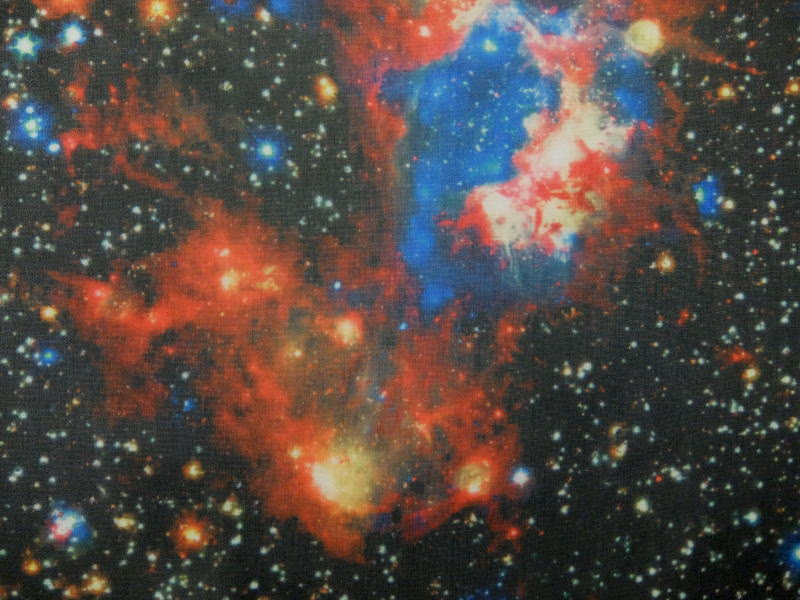ジョーゼットシフォン プリント生地 布 宇宙柄 170418−3 惑星 流星 銀河 チュニック ブラウス マキシスカート 商用利用可能