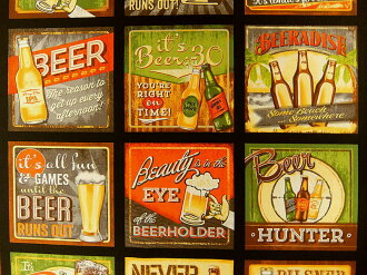 面板花紋USA棉布布料布Cheers快活AYB14729-2啤酒小酒店啤酒海報羅伯特袖口人員ROBERT KAUFMAN羅伯特考夫曼酒酒精商業用途可能的10P03Dec16