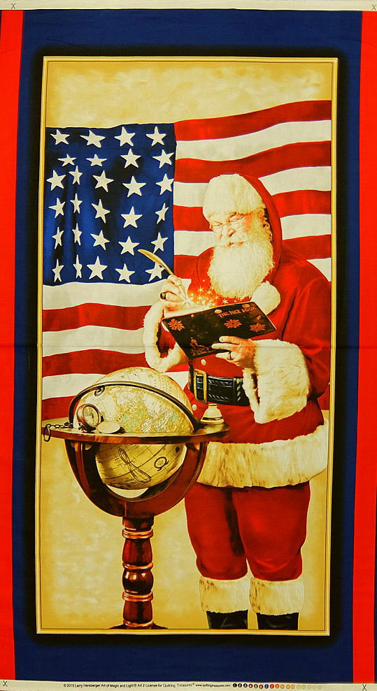 手芸・クラフト・生地, 生地・布  USA PEACE ON EARTH PATRIOTIC SANTA 24553R Quilting Treasures