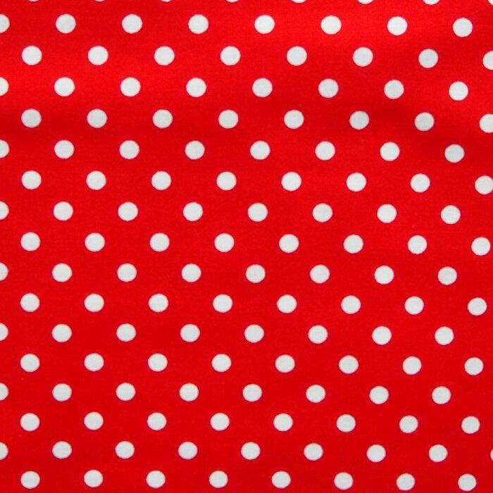 訳あり ドット 水玉柄 コットン シーチング生地 布 CR8876 207レッド 赤 くろすろーど 約110cm巾 綿100% 商用利用可能