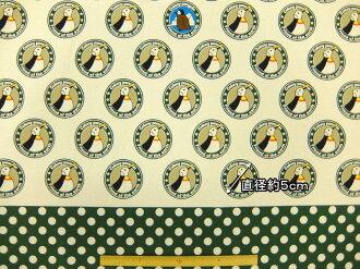 入場入場棉帆布面料布殖民地系列殖民地企鵝殖民地企鵝標識 KTS3600A 代 x 綠色動物圖案企鵝棉花小林商業可用