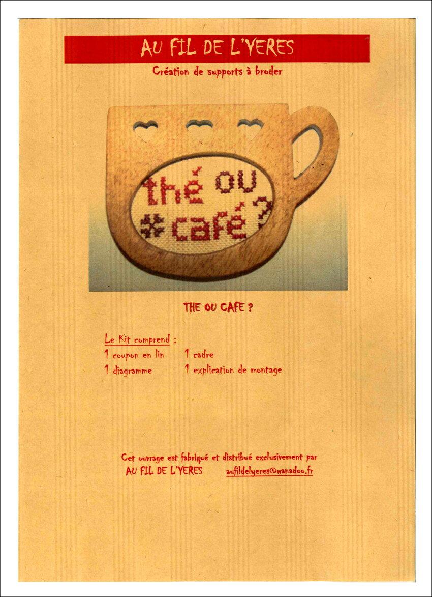 訳あり!紅茶?それともコーヒー?THE OU CAFE? 82907木製フレーム外径 :縦6.5×横9cm刺繍部分:縦4×横5.5cm