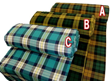 訳あり 在庫処分 インド綿(起毛)チェック柄 生地/布 5200 約110cm巾 商用利用可能